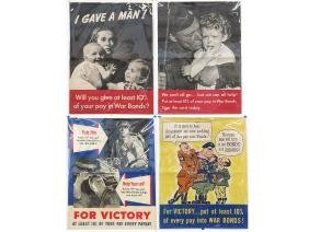 LOT (4) ASSORTED WWII BOND POSTERS C. 1940