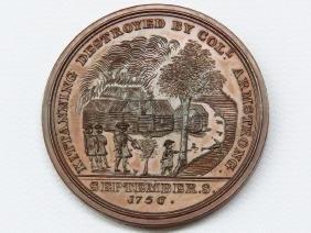 RARE KITTANNING COPPER MEDAL, 1756 (MINT 1ST STRIKE)