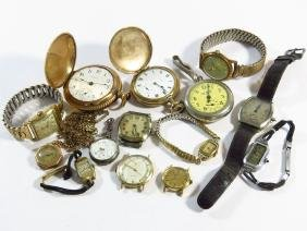 LOT ASSORTED WATCHES INCL. POCKET/WRIST INCL. SILVER