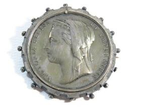 EGYPTIAN SILVER COIN BROACH 19/20TH C.