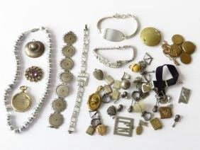 ASST VICTORIAN/ART DECO JEWELRY/FINDINGS INCL. STERLING