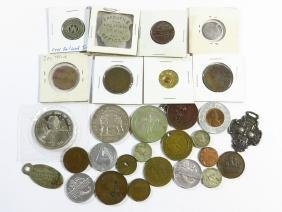 LOT ASSORTED TOKENS, BADGES, COINS, O & W TOKEN, ETC.