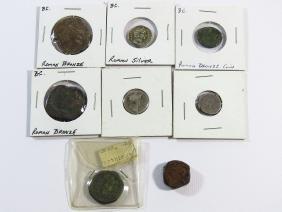 LOT ASSORTED ROMAN SILVER/BRONZE COINS B.C.
