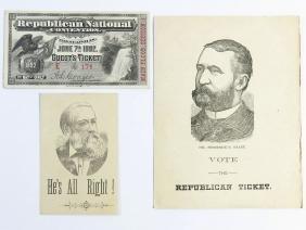 (2) BENJAMIN HARRISON REPUBLICAN TICKET 1892, GRANT