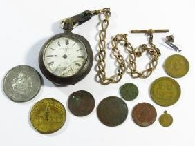 NY STANDARD COIN SILVER POCKETWATCH, TOKENS/MEDALS