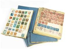 6 EARLY POSTAGE STAMP ALBUMS INCL. US/FOREIGN 19TH C.