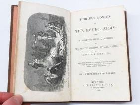 """RARE VOL. """"THIRTEEN MONTHS IN THE REBEL ARMY"""" 1862"""