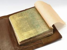 ROYCROFF LEATHER BOOK COVER W/ GOLD LEAF SHEETS