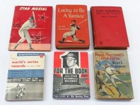 6 VINTAGE BASEBALL BOOKS; LOU GEHRIG, JOE DIMAGGIO,