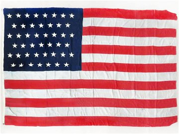FINE 45 STAR AMERICAN FLAG, SIGNED MABLE SMITH