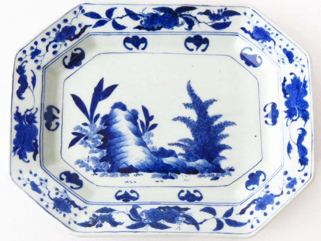CHINESE BLUE & WHITE EXPORT PORCELAIN TRAY 19TH C.