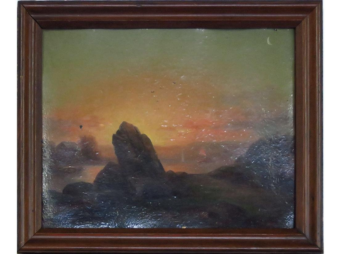O/ARTIST PANEL ILLUMINATED SUNSET ATTRIB. R.L. PYNE
