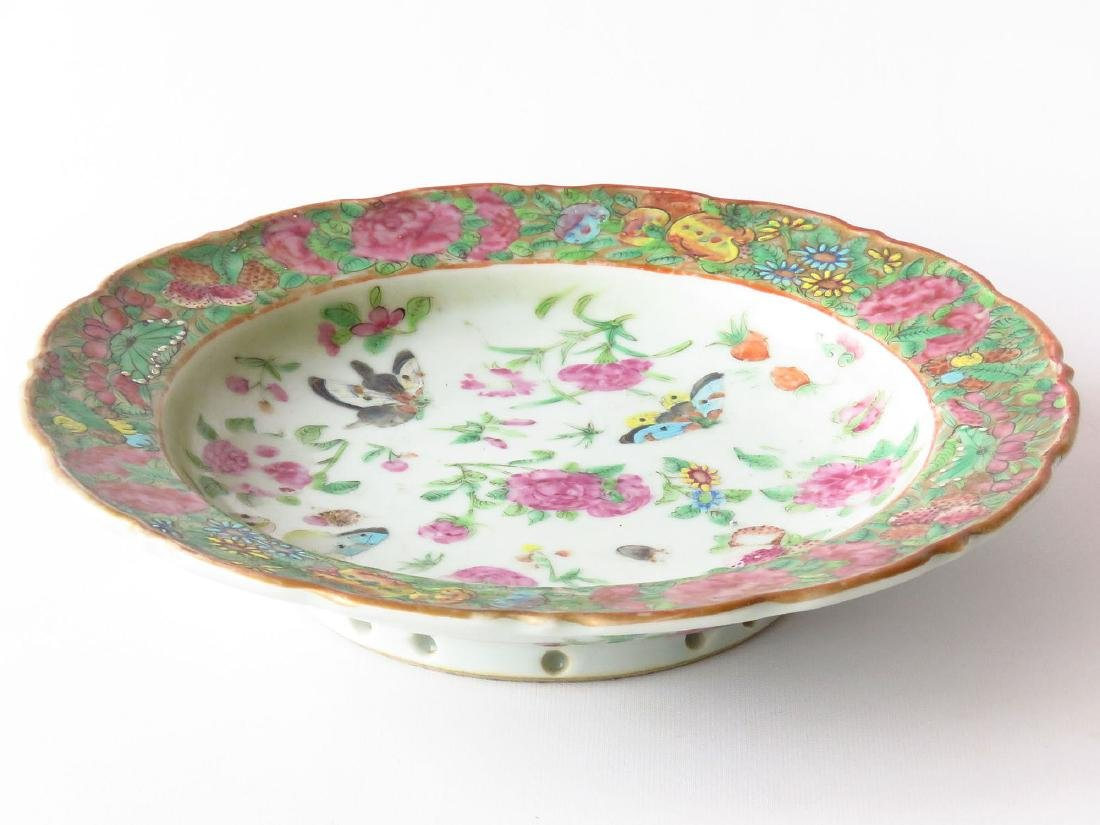 CHINESE FAMILE ROSE/INSECT LOW BOWL 19TH C.
