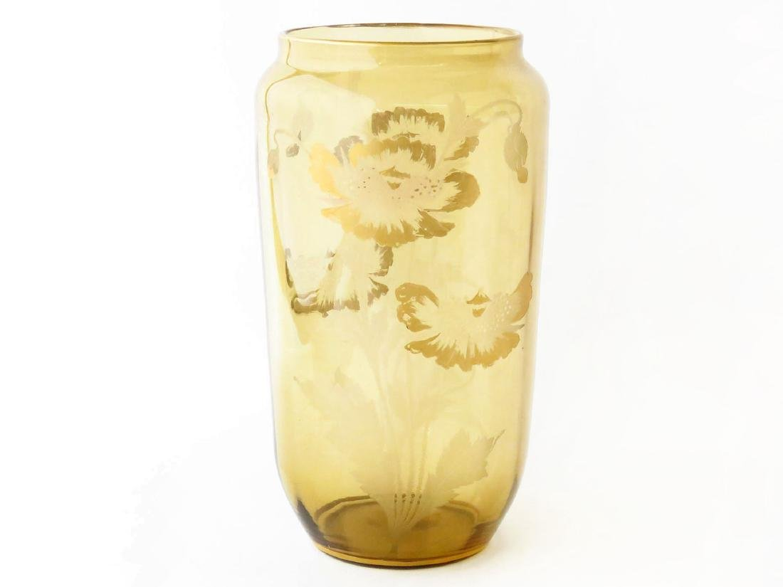 ART GLASS VASE W/ POPPIES SIGNED SINCLAIR 20TH C.