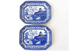 LOT (2) ENGLISH IRONSTONE BLUE WILLOW PLATTERS 19TH C.
