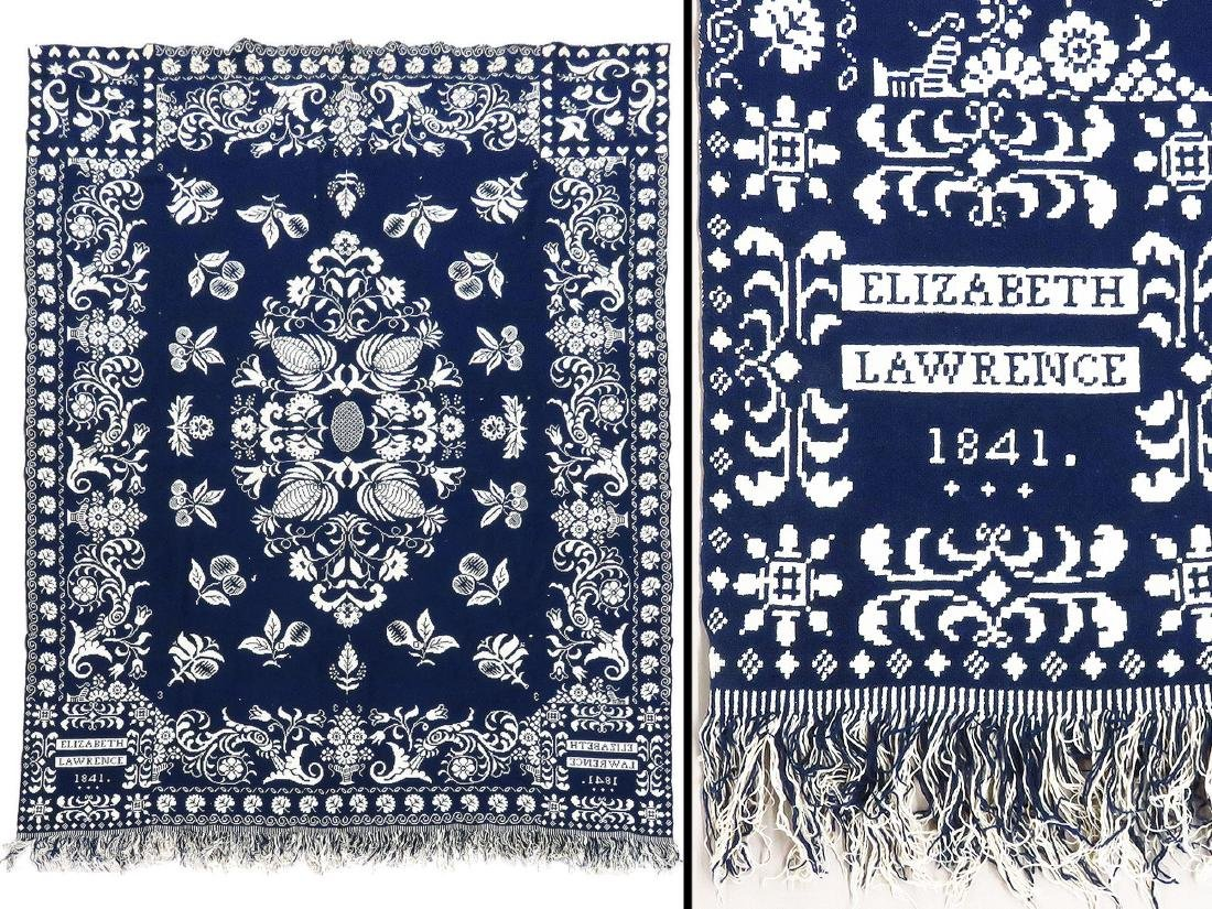 COUNTRY COVERLET, BLUE & WHITE, ELIZABETH LAWRENCE 1841