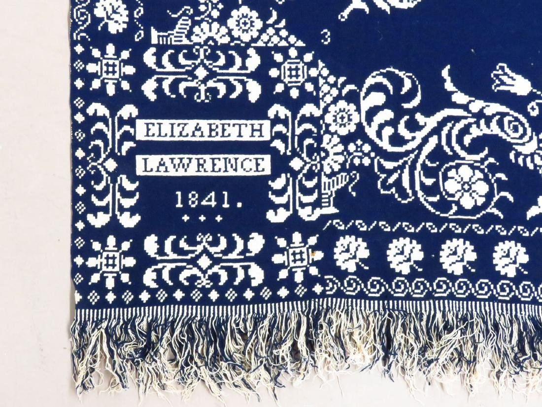 COUNTRY COVERLET, BLUE & WHITE, ELIZABETH LAWRENCE 1841 - 2