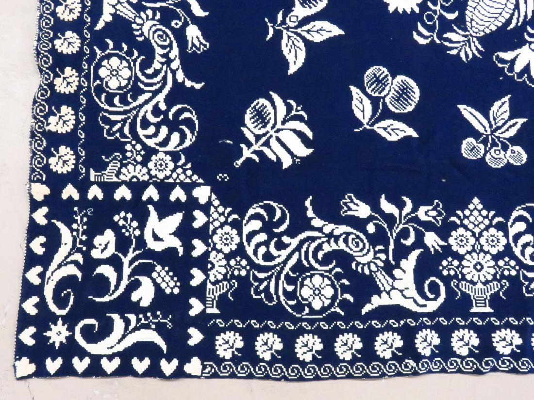COUNTRY COVERLET, BLUE & WHITE, ELIZABETH LAWRENCE 1841 - 4