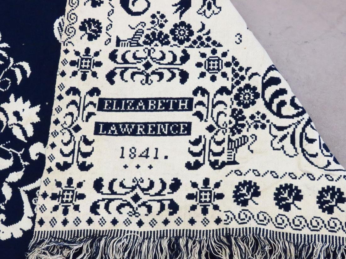 COUNTRY COVERLET, BLUE & WHITE, ELIZABETH LAWRENCE 1841 - 6