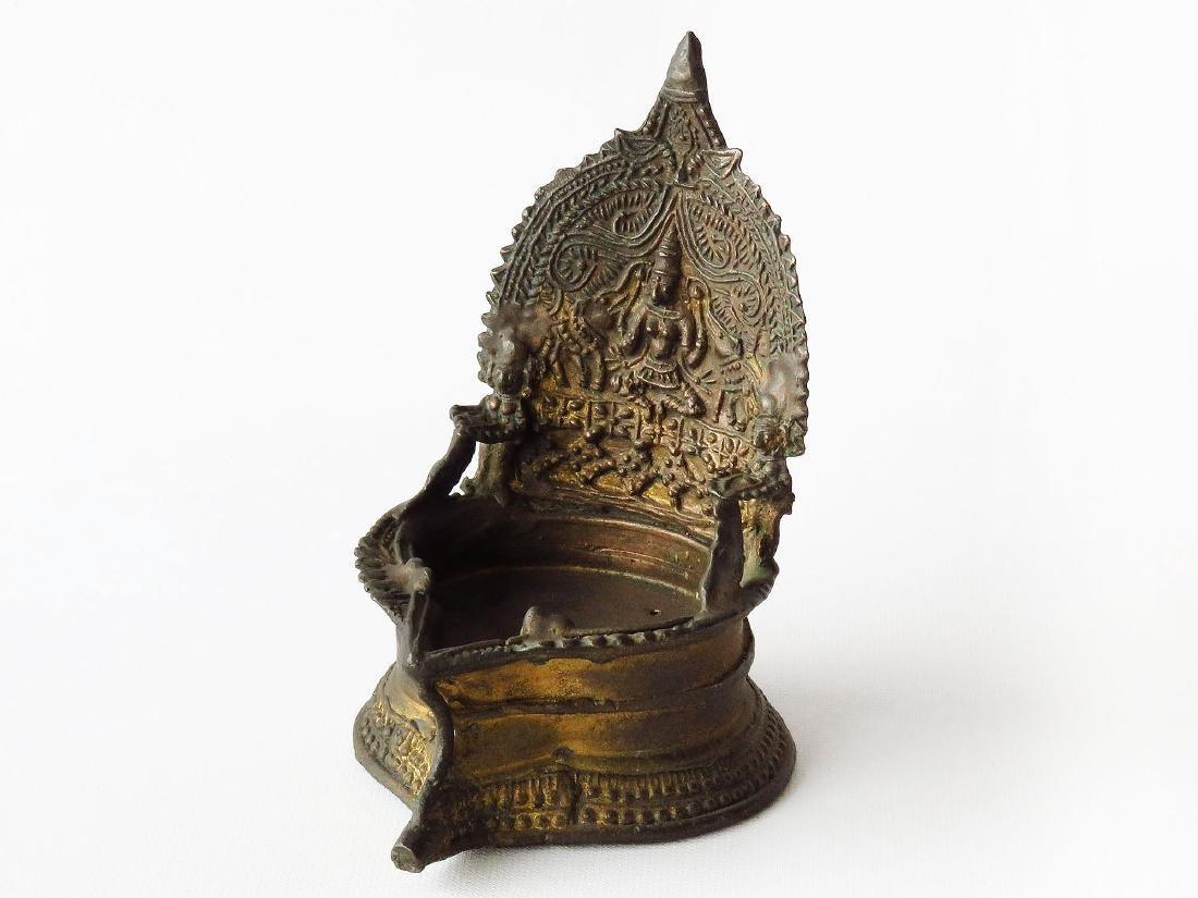 INDIA GILT BRONZE FLUID LAMP 19TH C.