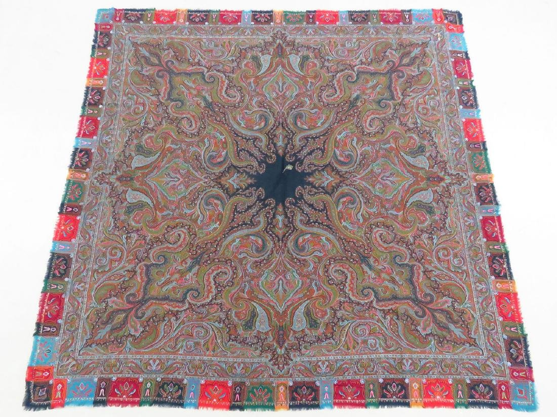 FINE/EARLY PAISLEY CASHEMERE SHAWL 19TH C. SIGNED