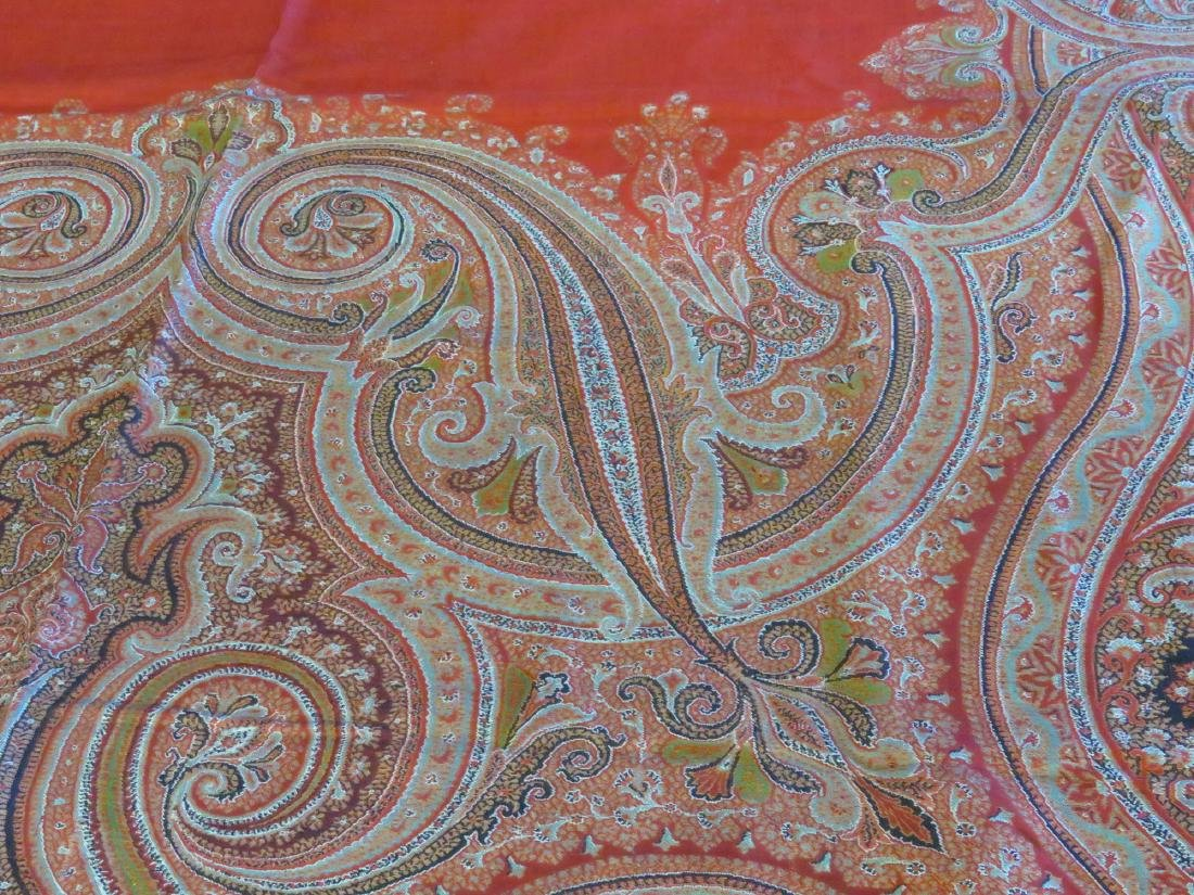 VINTAGE FINE EARLY PAISLEY CASHMERE SHAWL - 4