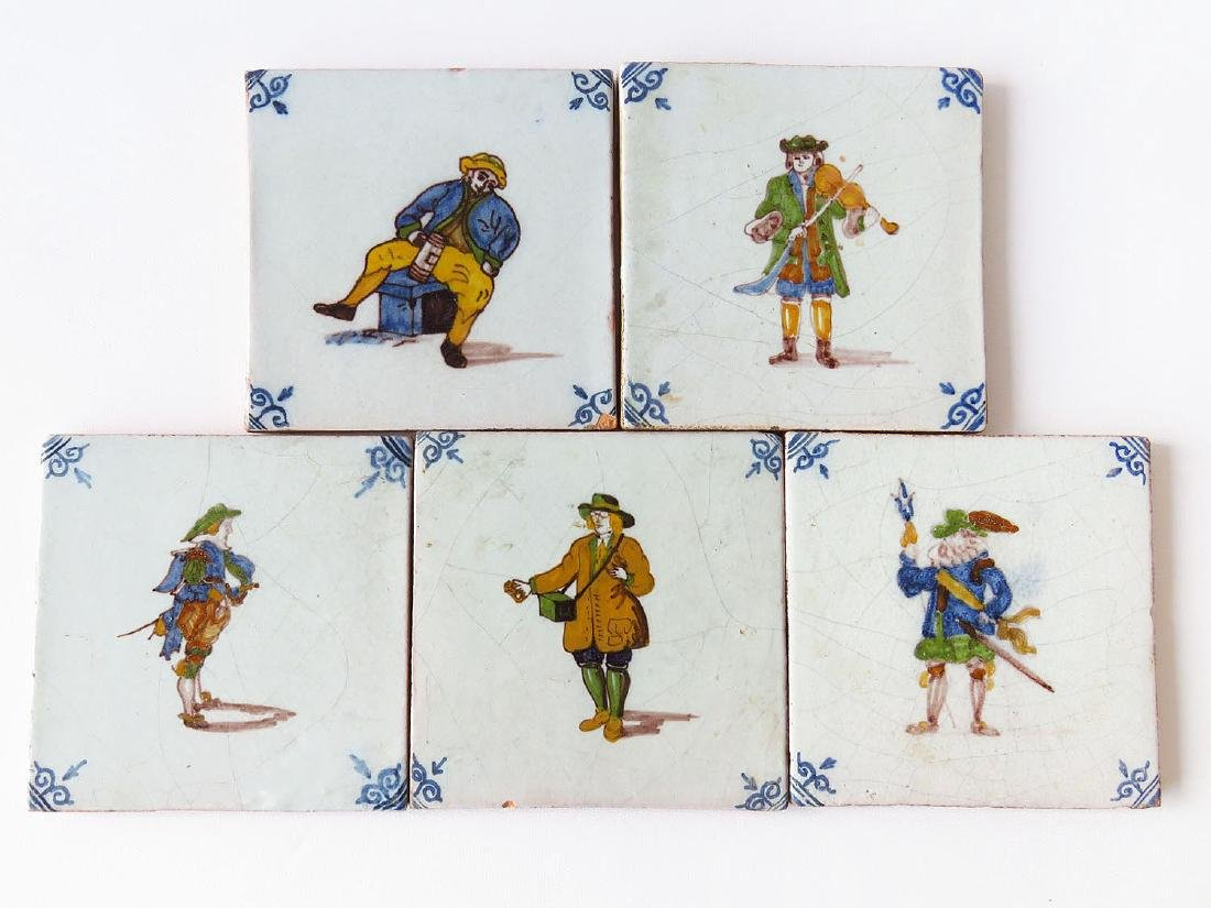 LOT (5) EARLY H/P DELFT TILES 18/19TH C.