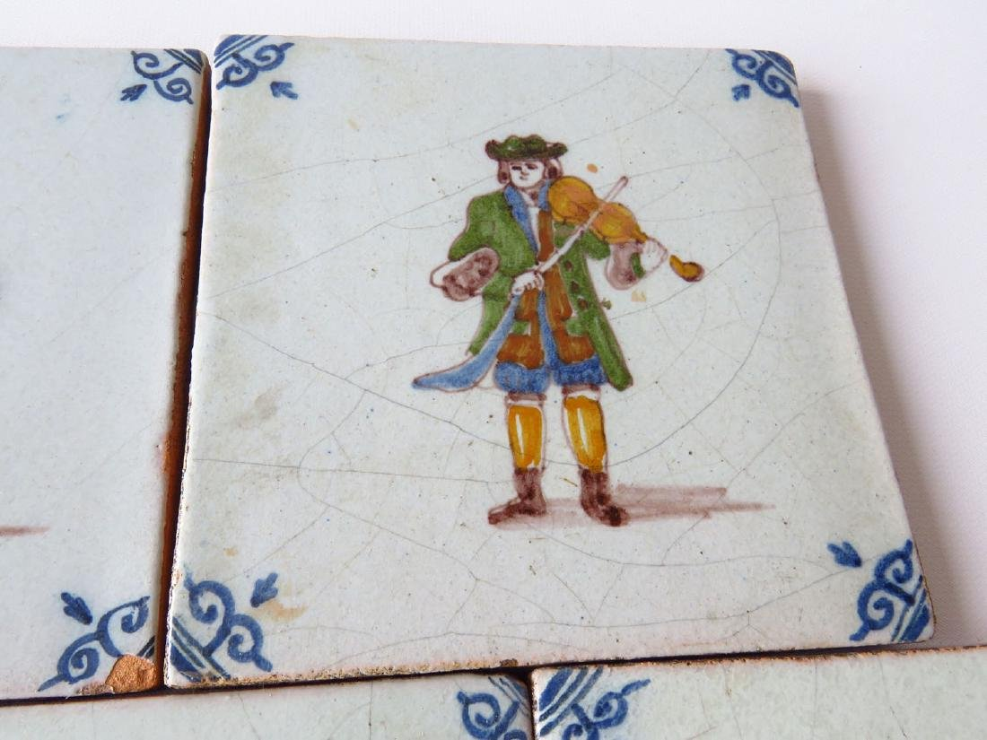 LOT (5) EARLY H/P DELFT TILES 18/19TH C. - 2