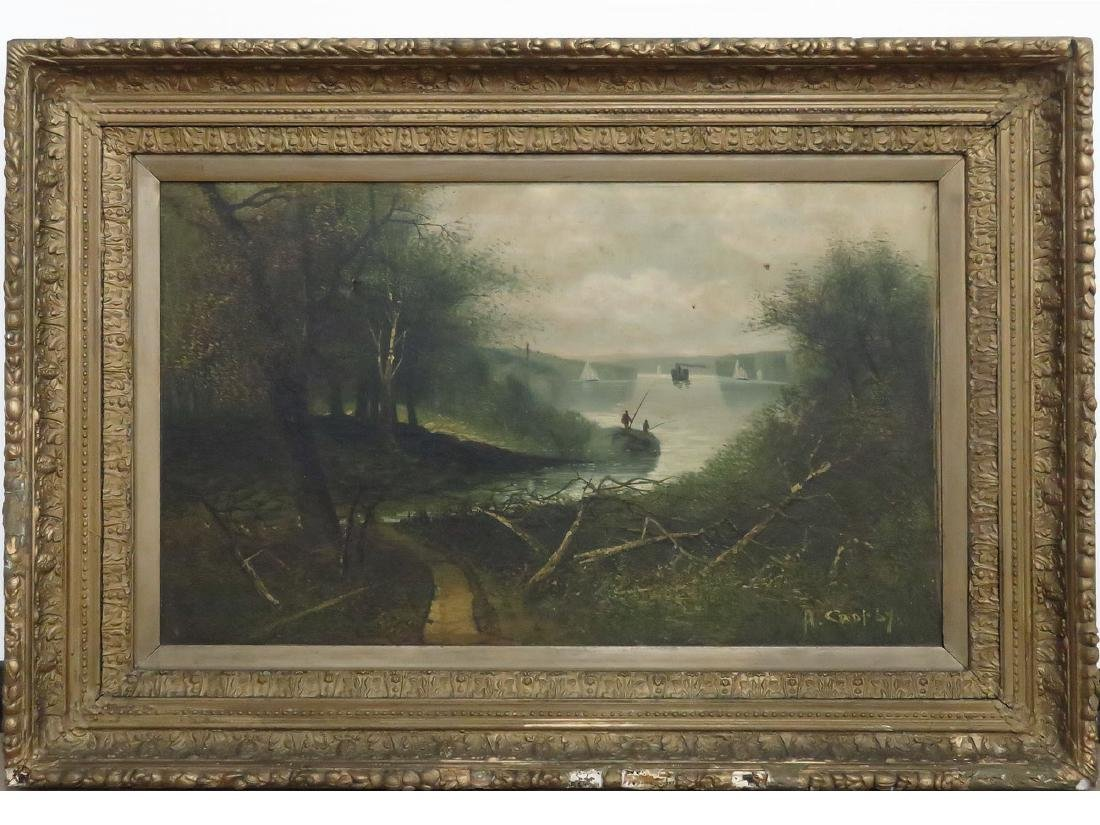O/C HUDSON RIVER VIEW SIGNED A. CROPSY 19TH C.