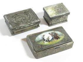 Lot (3) Incl. Russian Enameled Snuff Box 19th C.