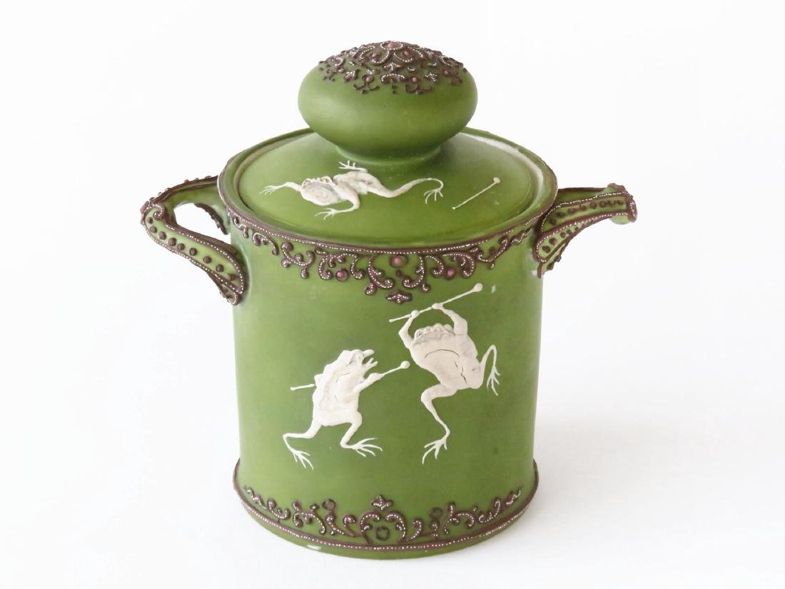 """NIPPON """"DANCING FROGS"""" PORCELAIN HUMIDOR 20TH C."""
