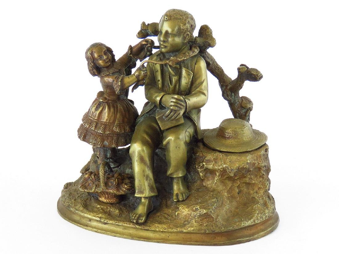 FRENCH BRONZE GROUPING INKWELL 19TH C.