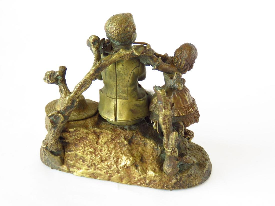 FRENCH BRONZE GROUPING INKWELL 19TH C. - 3