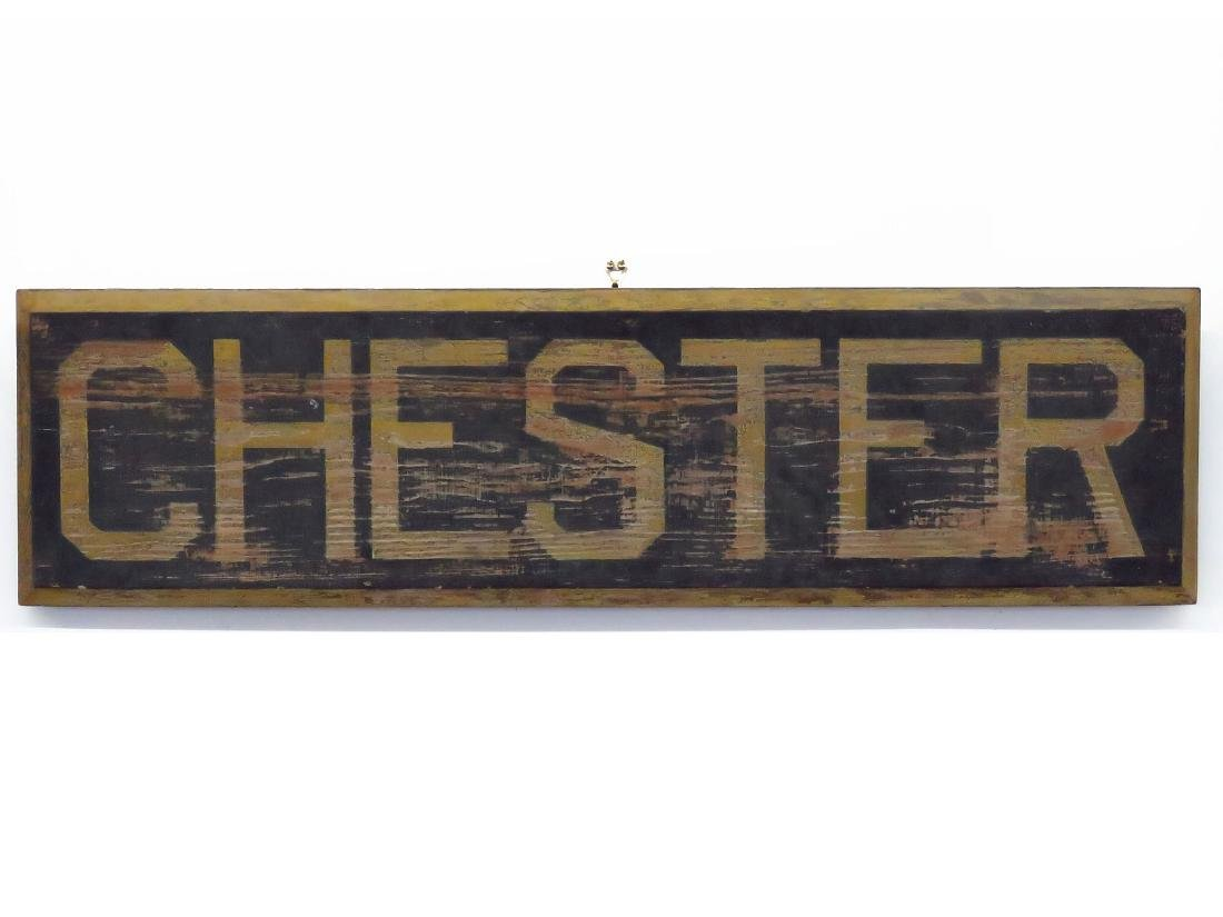 CHESTER, NY PAINTED WOOD RAILROAD STATION SIGN 19TH C.