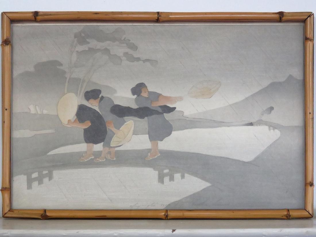 WOOD BLOCK PRINT, JAPANESE WOMEN, SIGNED BERTHA
