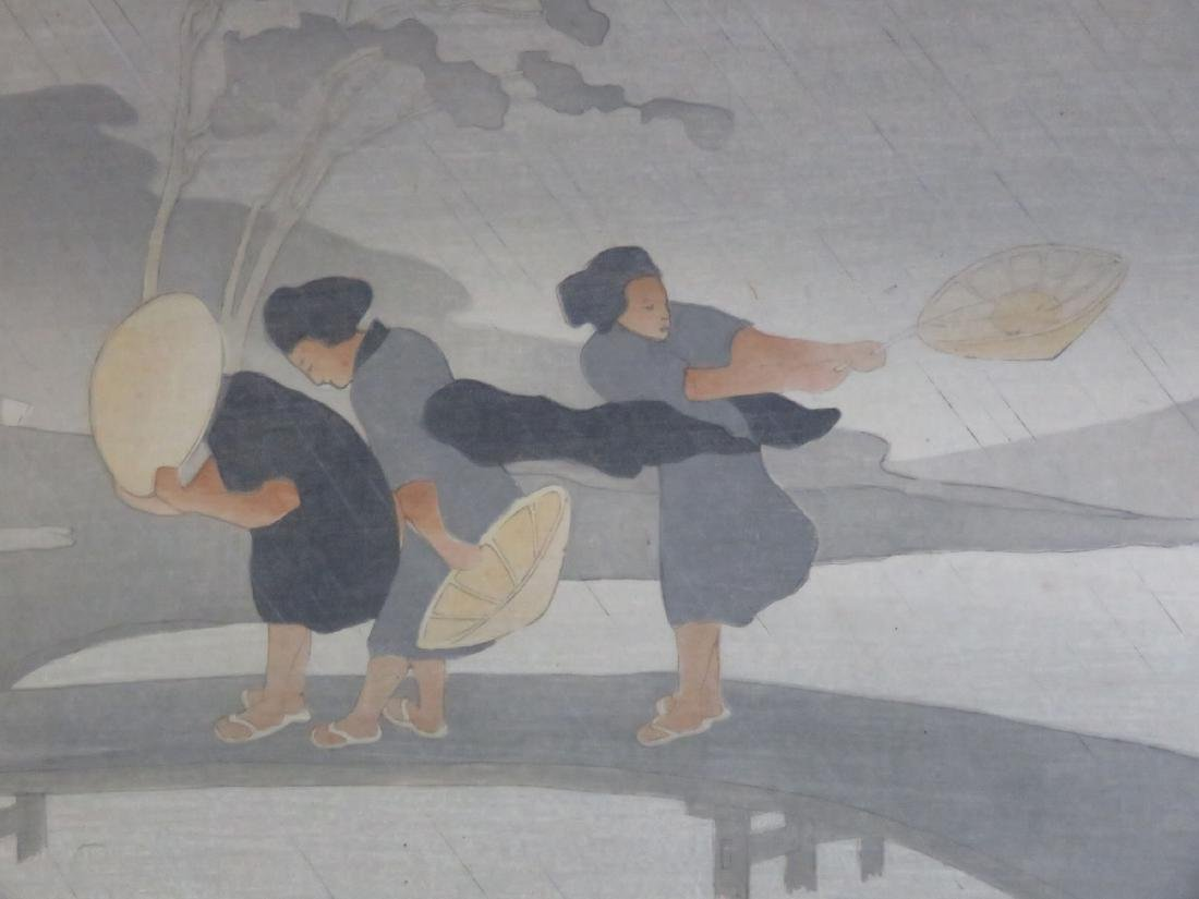 WOOD BLOCK PRINT, JAPANESE WOMEN, SIGNED BERTHA - 2