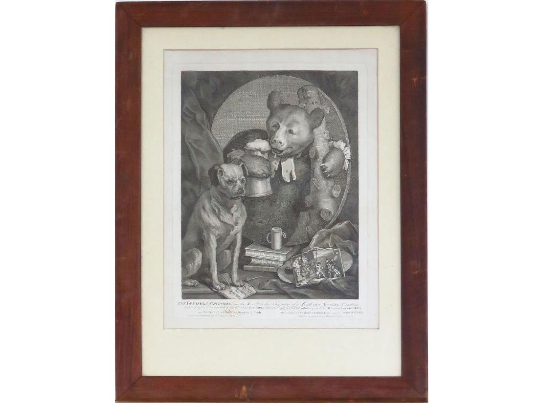 STEEL ENGRAVING 'THE BRUISER C. CHURCHILL' HOGARTH