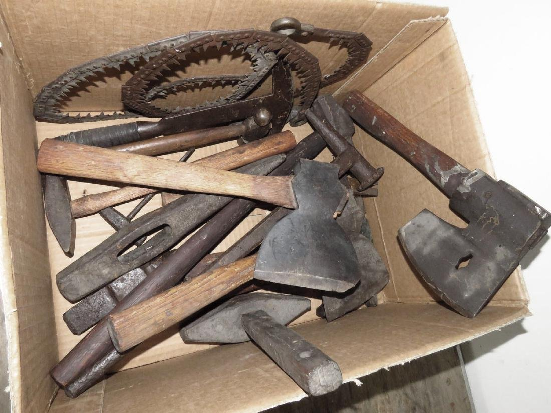 LOT HAMMERS, HEADS, (2) U.S. ARMY MILITARY SAWS