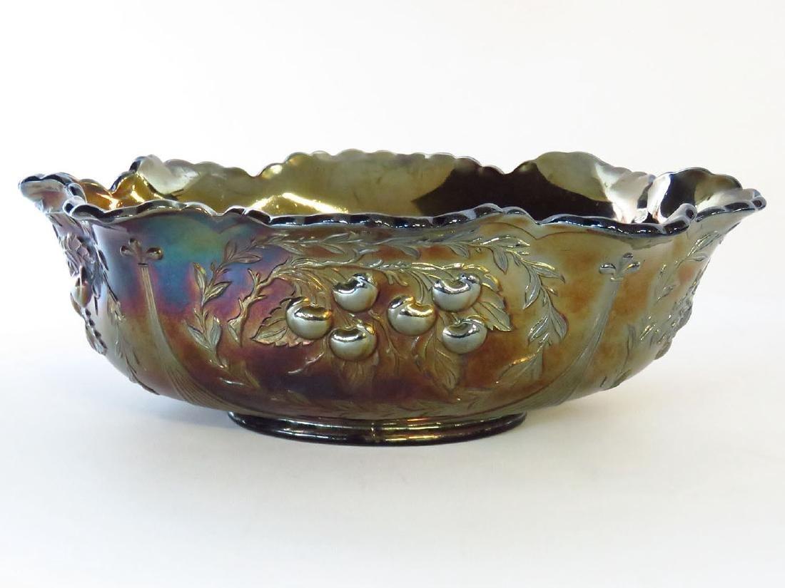 DUGAN CARNIVAL GLASS  PANELED CHERRY CENTER BOWL