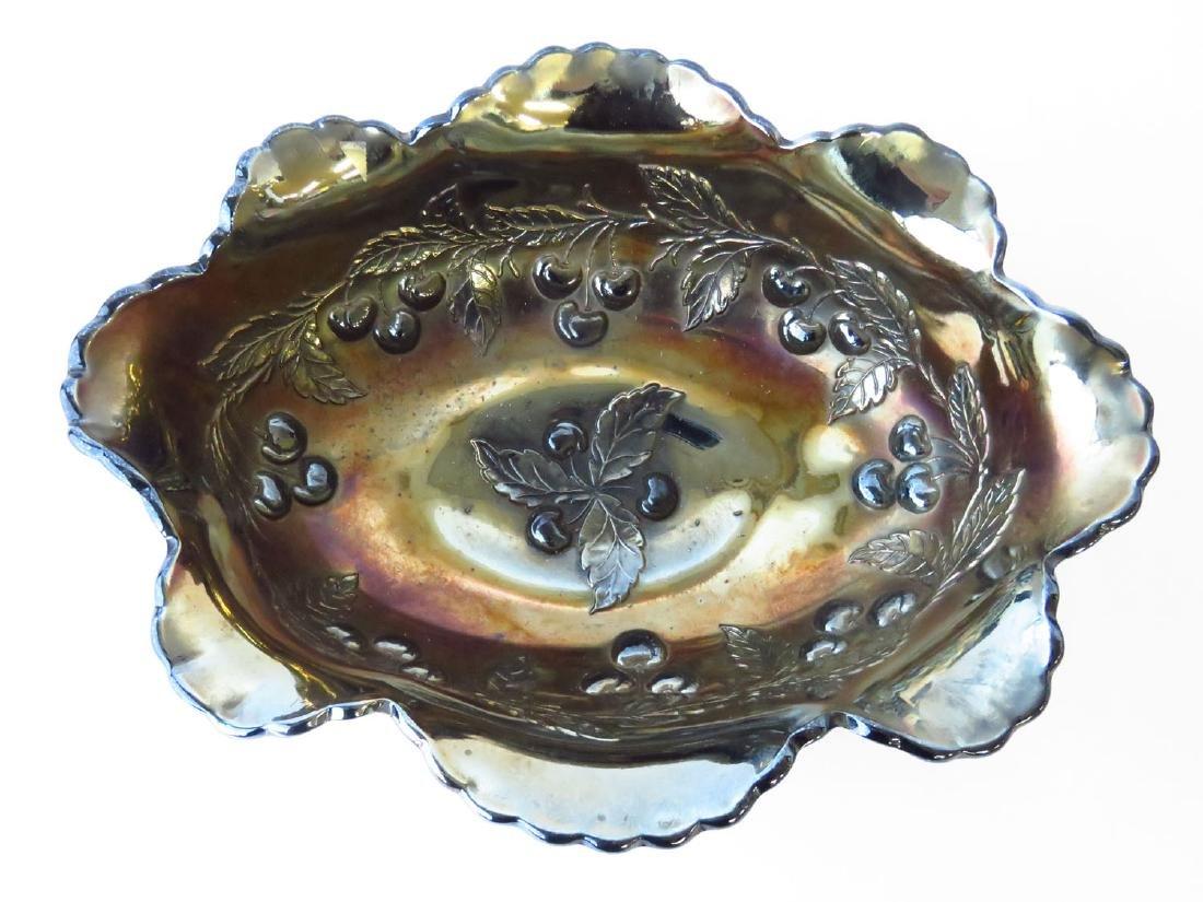 DUGAN CARNIVAL GLASS  PANELED CHERRY CENTER BOWL - 2