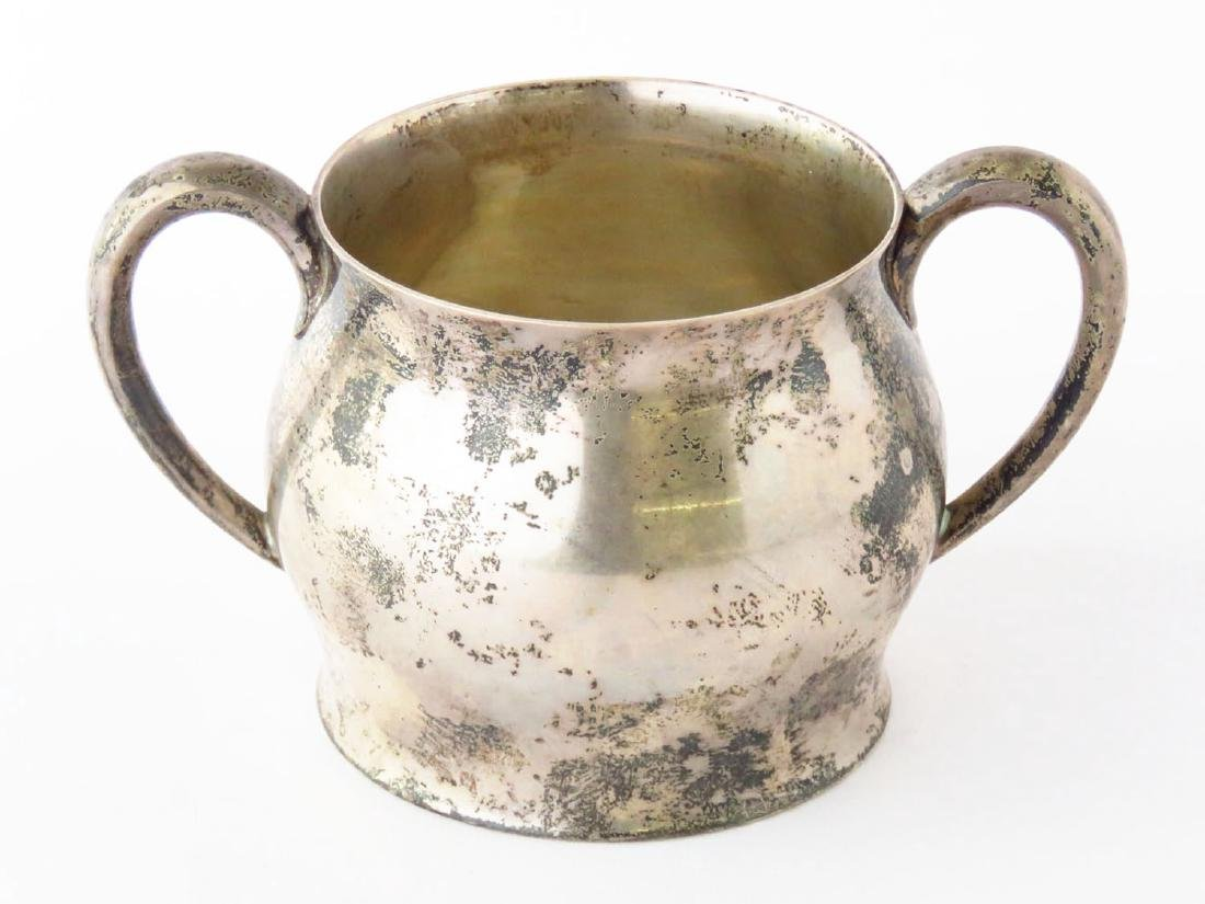 PAUL REVERE PATTERN STERLING CUP ENGRAVED, 20TH C.