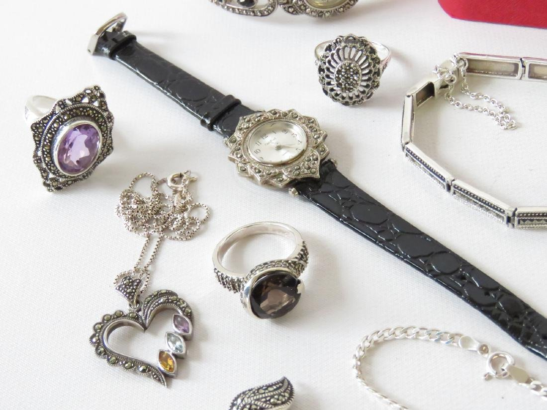 ASST STERLING JEWELRY; BROOCHES, RINGS & NECKLACES - 3