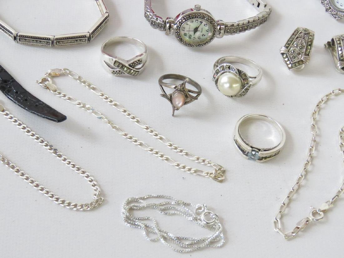 ASST STERLING JEWELRY; BROOCHES, RINGS & NECKLACES - 4