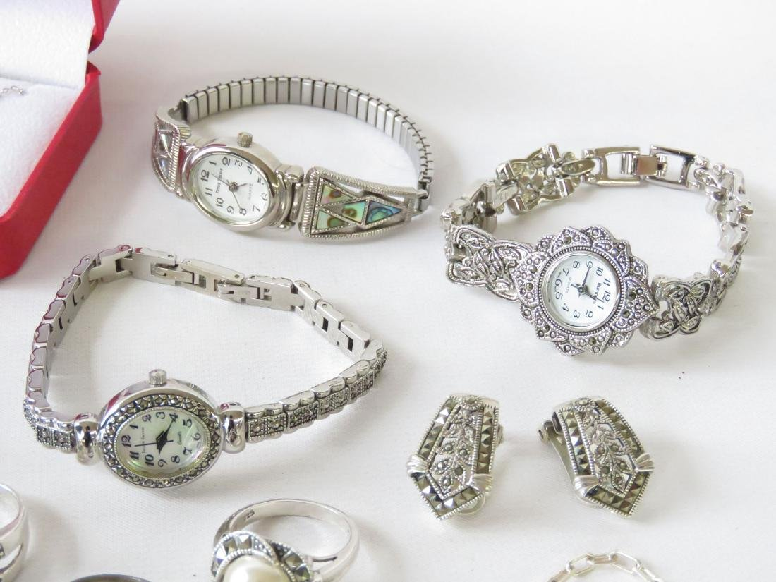 ASST STERLING JEWELRY; BROOCHES, RINGS & NECKLACES - 5