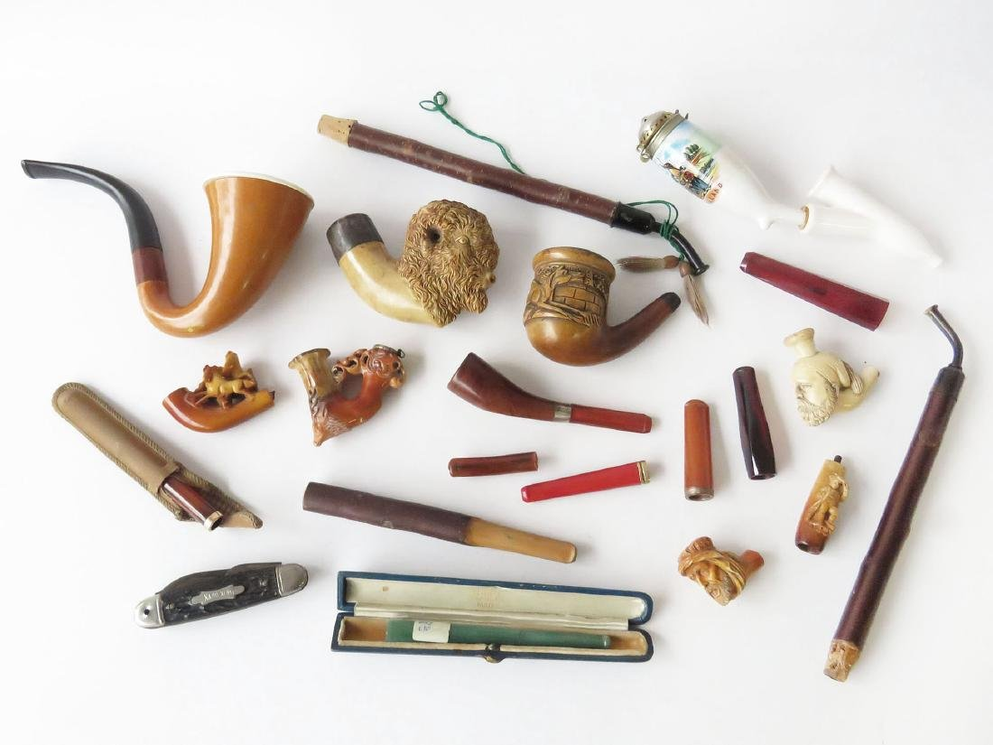 LOT ASSORTED VICTORIAN MERSHERM PIPES 19TH C.