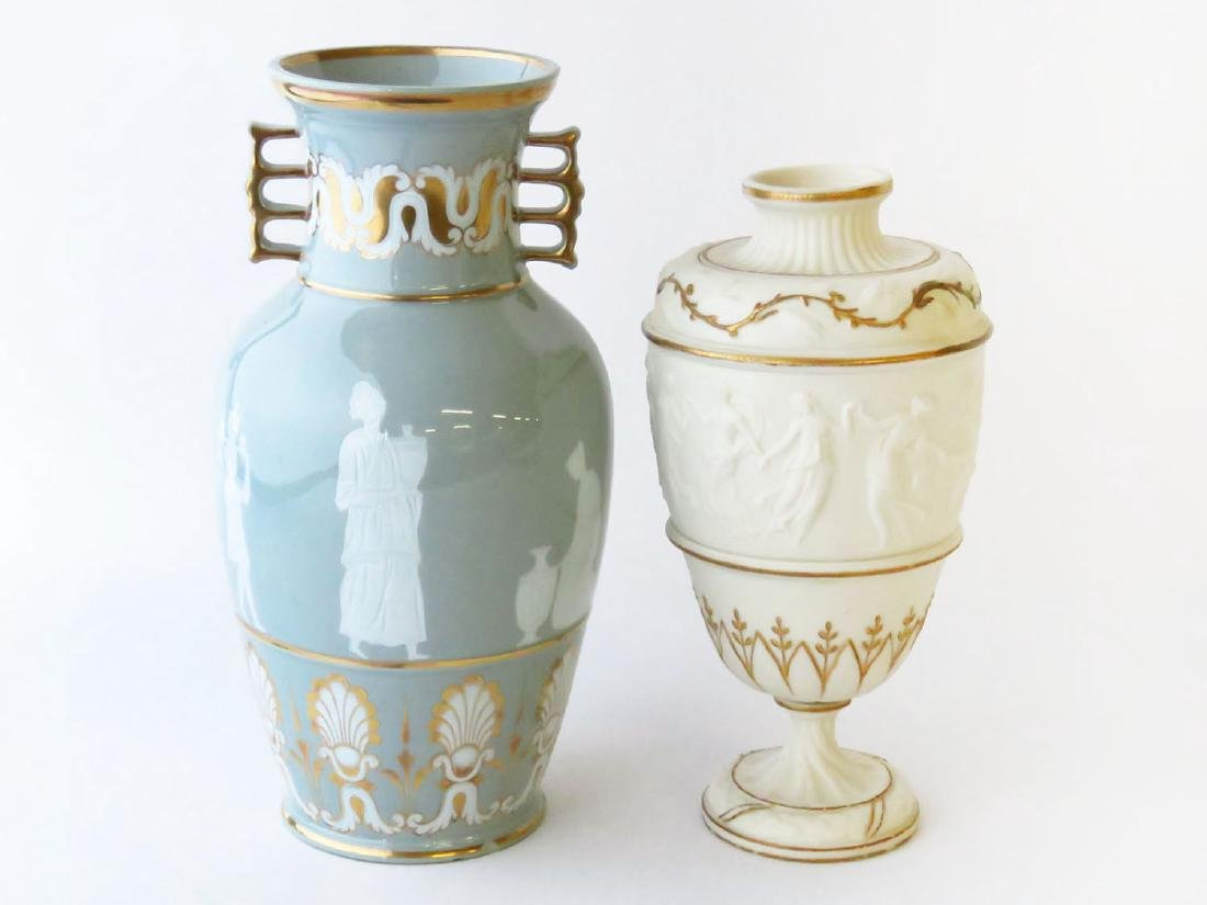 LOT (2) CLASSICAL IRONSTONE/JASPER VASES 19TH C.