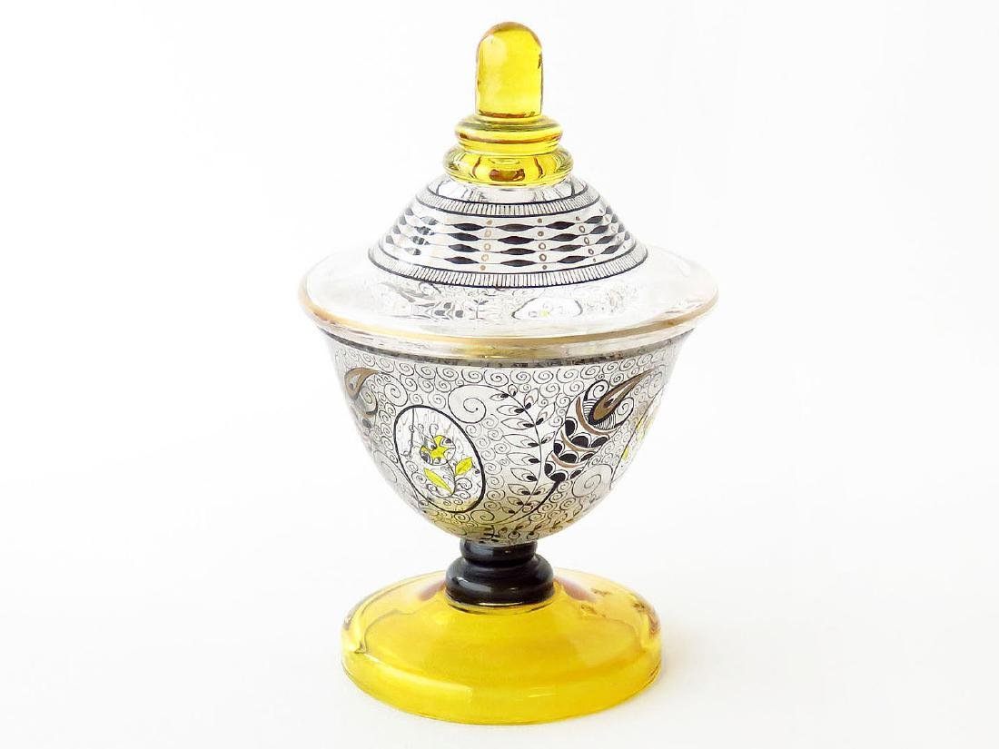 H/P LUDWIG MOSER ART GLASS COVERED CANDY DISH