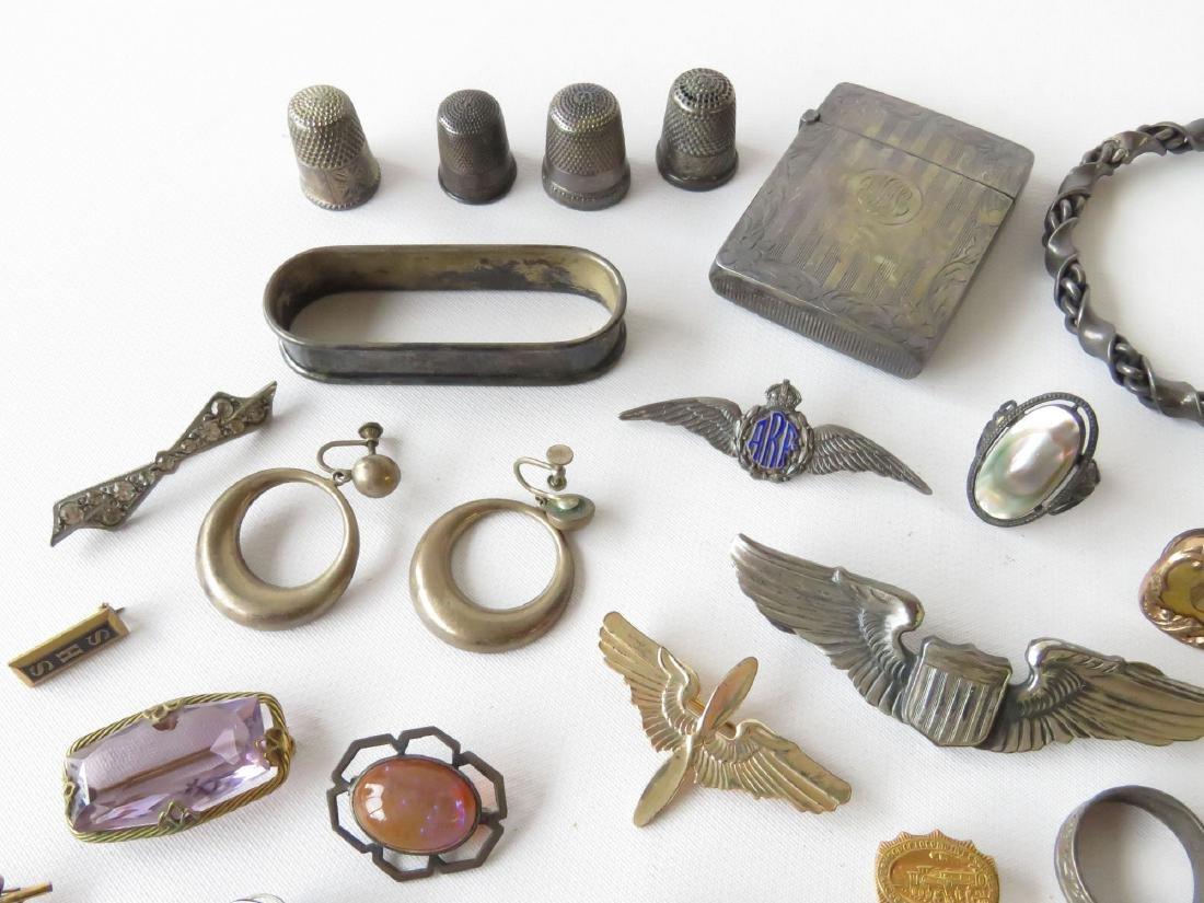 ASST STERLING PINS, BROOCHES, THIMBLES, MATCHSAFE - 2