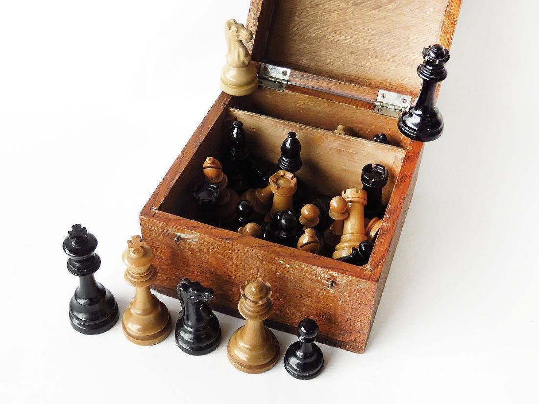 FINE WOOD/MIXED METAL CHESS SET, SIGNED WILLIAMS