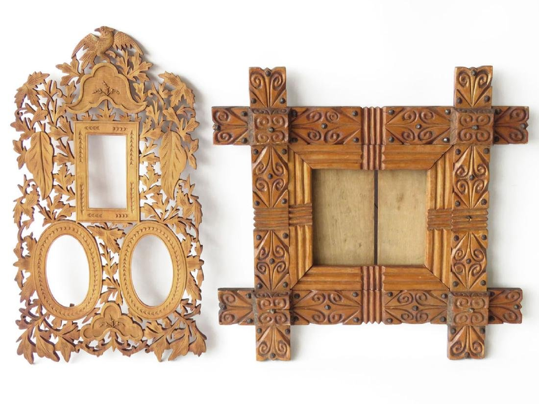 (2) INCL. FOLK ART & VICTORIAN CARVED PINE FRAMES